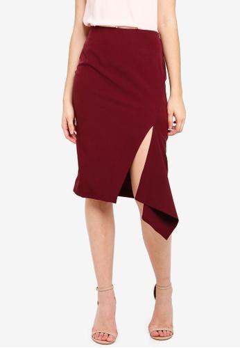 Vesper red Vesper Yvette Midi Skirt With Frill 65445AAB78F1E5GS_1