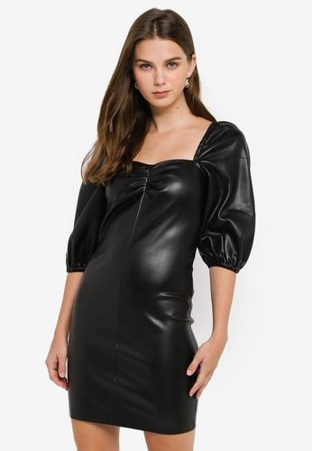 Mango black Faux Leather Dress 5A8CAAA57E4522GS_1