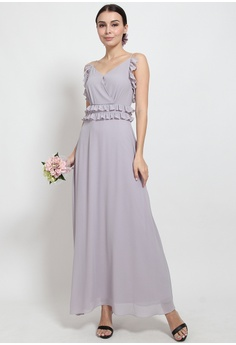 6a4e56ad8762 Lowela purple Frill Cami Maxi Dress Bridesmaid LO721AA53UVMMY 1