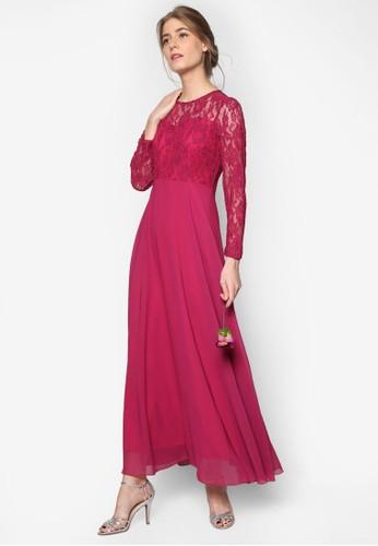 Aisle 蕾絲esprit outlet 台灣拼接長洋裝, 服飾, 洋裝