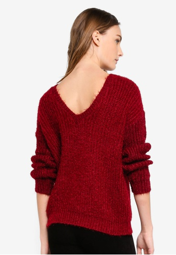 MISSGUIDED 紅色 素色V字背oversized 上衣 371ADAAD91C828GS_1