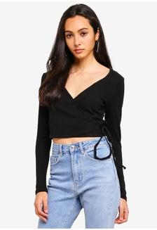 18df1113a12af Buy Miss Selfridge Black Long Sleeve Jumbo Rib Bardot Top Online ...