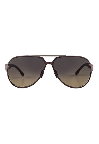Hugo Boss brown HUGO BOSS Aviator Brown Sunglasses 0669S HU898AC34OWJMY_1
