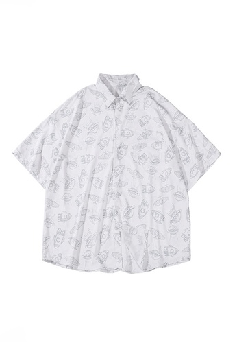 Twenty Eight Shoes white VANSA Full Print Space Element Short-sleeved Shirt  VCM-Sh1546 C8D5EAAE1A7F27GS_1