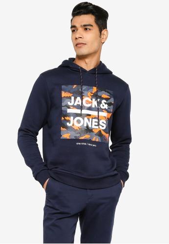 Jack & Jones navy Prime Sweat Hoodie E23F3AAE545603GS_1