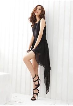 Square Collar Solid Sleeveless Asymmetrical Dress