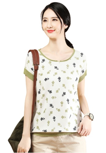 A-IN GIRLS white and green Short Sleeve Printed Crew Neck Sweater 7B96EAA69158BAGS_1