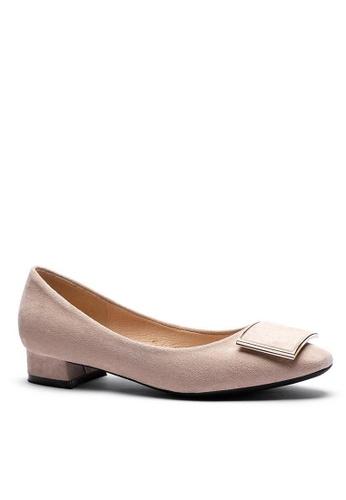Twenty Eight Shoes 方頭方扣絨面高踭鞋1205-53 255DFSHC5E8B31GS_1