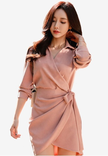 Sunnydaysweety pink 2018 New Mid Sleeves Wrapped One Piece Dress 6309AAAEBF3FECGS_1