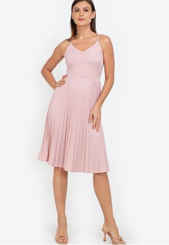 ZALORA WORK pink Pleated Skirt Cami Dress A8113AA7EBCC2DGS_1