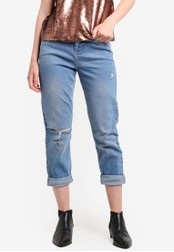 Miss Selfridge blue Petite Mom Ripped Jeans MI665AA65EBIMY_1