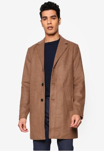 !Solid brown Fayette Faux Wool Coat A6B07AA546A1FFGS_1