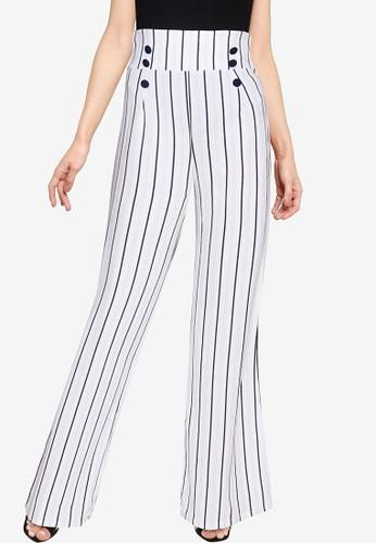 Quiz white White Navy Stripe Trousers D4E0EAAF0330B8GS_1
