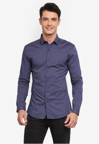 Topman navy Navy Polka Dot Muscle Fit Shirt 2B05CAAC3C0163GS_1
