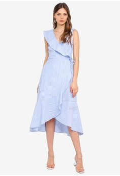 ab4eccd0f68 WAREHOUSE blue Stripe Frill Front Dress E5F25AAF6632DEGS 1