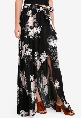 INDIKAH black Maxi Skirt With Side Split ACA38AAAFDE751GS_1