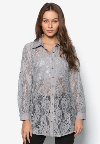 蕾絲長袖esprit outlet 旺角襯衫, 服飾, 上衣