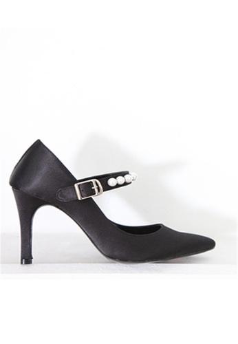Crystal Korea Fashion black Korean Made Silk Cloth Pearl High Heels CR681SH2WDPLHK_1