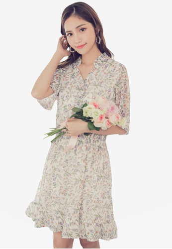 Yoco white Floral V-Neck Chiffon Dress A53F7AA0626A82GS_1