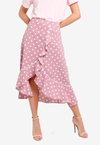 ZALORA 粉紅色 不規則荷葉飾裙 05356AA1E9F391GS_1