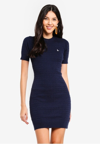 Jack Wills navy Danesfort Classic Cable Knit Dress 64EAEAA1441706GS_1