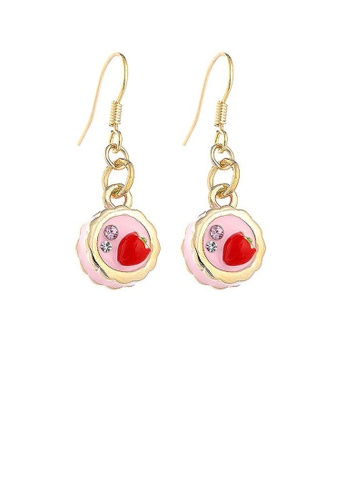 Glamorousky silver Glistering Strawberry Cake Earrings with Pink and Silver CZ 8E002ACB90C3FFGS_1