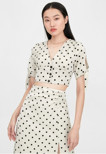 Pomelo beige Polka Dot Cinched Crop Blouse - Cream A7493AA05B5A09GS_1