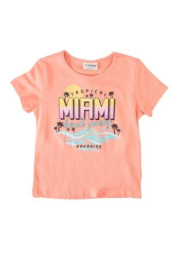 LC Waikiki orange Girl's Printed Cotton T-Shirt 90F80KABE82B76GS_1