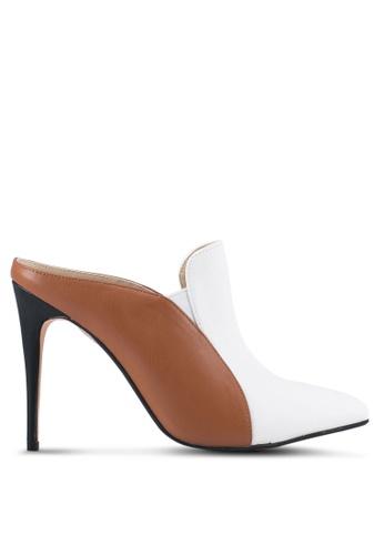 ZALORA white and brown and multi Double Pu Slip On Heel 570B8SH0E63326GS_1