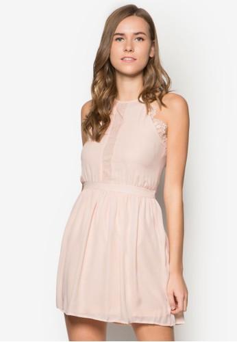蕾絲削肩傘擺洋裝,zalora taiwan 時尚購物網 服飾, 洋裝