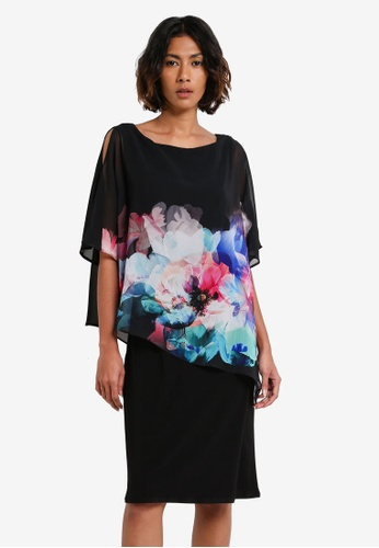 Wallis black Black Watercolour Overlayer Dress WA800AA0RXAOMY_1