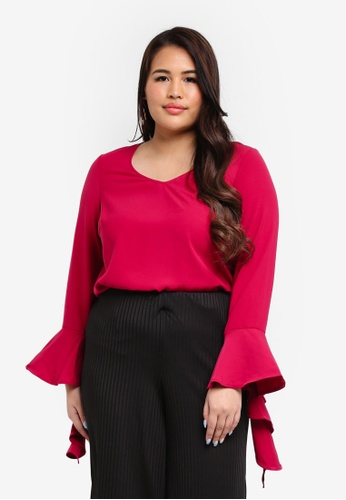 Junarose red Plus Size Inese Blouse BF858AA39D0861GS_1