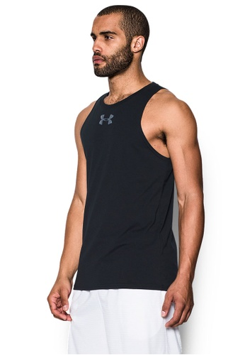 Under Armour black and white UA Baseline Cotton Tank T-Shirt UN337AA0SU3CMY_1