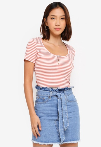 Cotton On orange Skyla Henley Short Sleeve Top 1F742AA4415D78GS_1