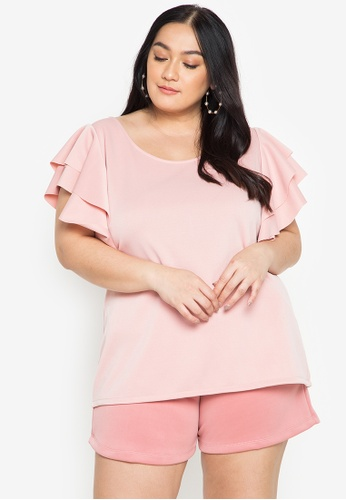 Love Curves Clothing By Jgo pink Layered Ruffle Sleeves Plus Size Top 87B5BAA2CECBFBGS_1