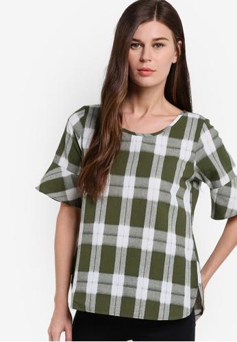 Geb. green Checkered Short Sleeve Top GE945AA16OLNMY_1