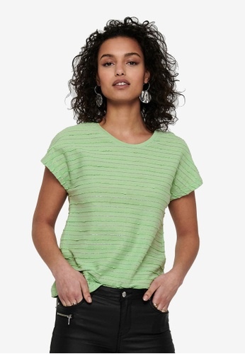 ONLY green Millie Life Short Sleeve Glitter Top B7D85AA7521C8FGS_1