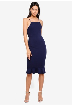 9afdbd6d5702 38% OFF MISSGUIDED Scuba Square Neck Frill Hem Midi Dress S$ 39.90 NOW S$  24.90 Sizes 6 8 10 12 14