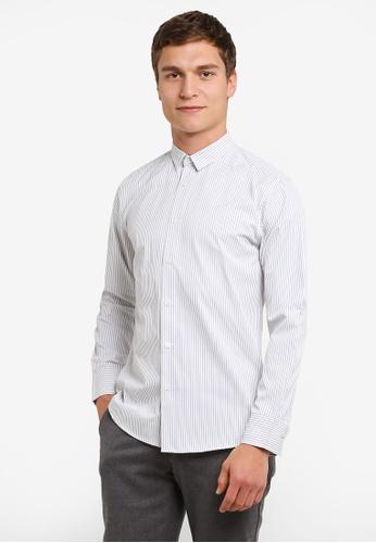 ZALORA white Slim Fit Patterned Stripes Long Sleeve Shirt D2028AAD59DB4CGS_1
