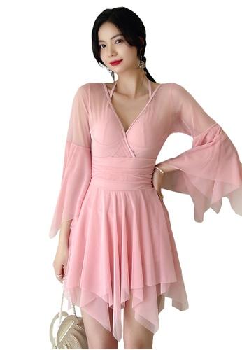 A-IN GIRLS pink Sexy Gauze Open Back One-Piece Swimsuit BA21DUS2E53EBBGS_1