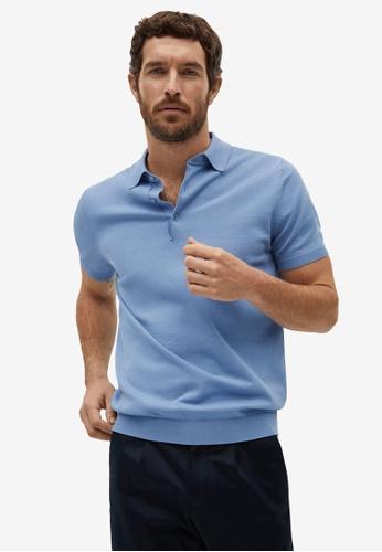 MANGO Man blue Knit Cotton Polo Shirt 7A06FAA27DD0C1GS_1
