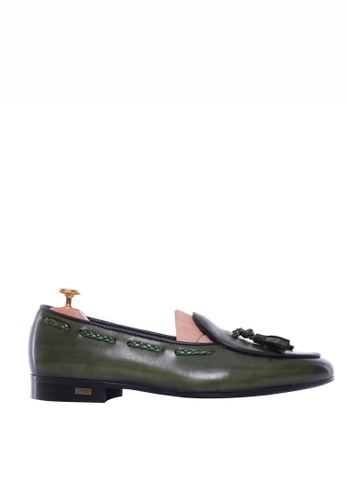 Zeve Shoes green Zeve Shoes Belgian Loafer - Moss Green With Tassel (Hand Painted Patina) 0BFE6SH2E672BDGS_1