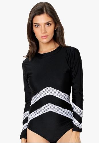 OOTD black Symmetrical Monochrome Long Sleeves One Piece Rashguard Swimwear 66557US46EDE80GS_1