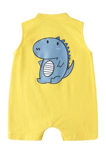 Kiddies Crew yellow and multi Dinosaur Sleeveless Boys Girls Baby Kids Romper Onesie Overalls With Three-Quarter Pants (Yellow) 82774KAAE88E77GS_1