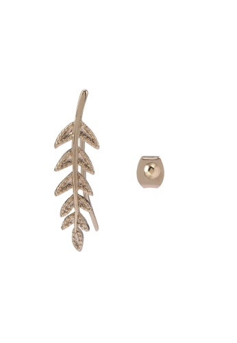 Orelia London gold Leaf Climber And Ball Stud Earrings OR747AC0SC3ZMY_1