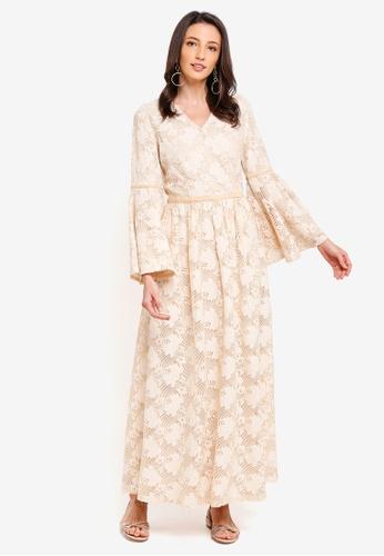 Zalia beige Lace Dress with Velvet Trim B60B1AA352E273GS_1