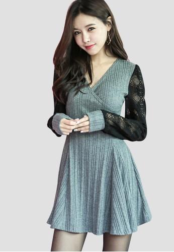 韓流時尚 玫瑰波紋花邊連衣裙 G1zalora 包包評價021, 服飾, 洋裝