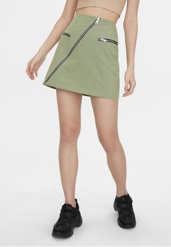 Pomelo beige Asymmetric Zipper Mini Skirt - Khaki B5D1CAAE39A710GS_1