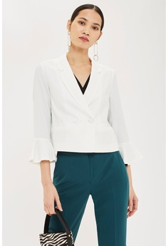 3962f9273e TOPSHOP white Frill Sleeve Double Breasted Jacket C2CAFAAAFC0100GS 1