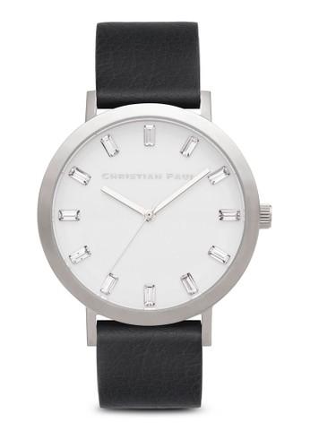 Elwood 奢華風格紋手錶, 錶esprit 童裝類, 皮革錶帶
